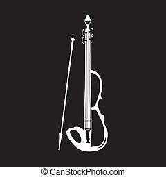 elektromos, íj, ábra, vektor, hegedű, fehér