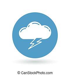 elektromos, cégtábla., jelkép., villámlás, vektor, csavar, megrohamoz, ütés, icon., felhő, illustration.