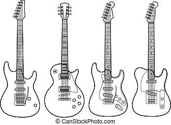 elektromos, elszigetelt, körvonal, vektor, gitárok, fehér
