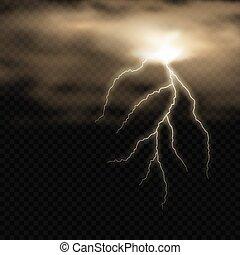 elektromos, fényes, lightning., sötét, háttér., gyakorlatias, villámlás, elhomályosul, vektor