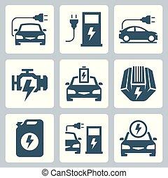 elektromos, gépi erejű, autó, ábra, vektor, ikon