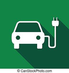 elektromos, gépi erejű, autó, jelkép, hosszú, shadow., ikon