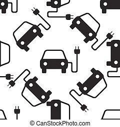 elektromos, gépi erejű, autó, jelkép, seamless, ábra, háttér., vektor, motívum, fehér, ikon