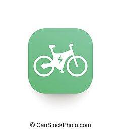 elektromos, ikon, bicikli, hírverő, bicikli