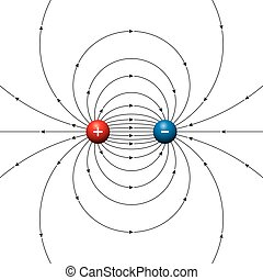elektromos, két, mező, megvonalaz, díjak