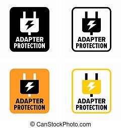 elektromos megdöbbent, oltalom, ellen, adapter