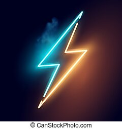 elektromos, neon, villámlás, vektor, csavar, aláír