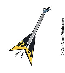elektromos, sárga, fekete, fehér, gitár, láng