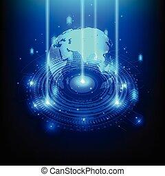 elektromos, telecom, elvont, térkép, mérnök-tudomány, vektor, ábra, világ, jövő, technológia