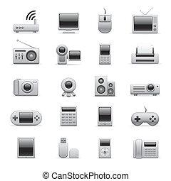 elektronikus, ezüst, ikonok