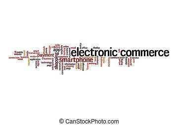 elektronikus, felhő, fogalom, kereskedelem