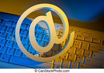 elektronikus posta, keyboard., számítógép, aláír