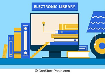 elektronikus, vektor, számítógép, könyvtár, ábra