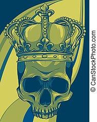 elem, ábra, fejtető, tervezés, koponya, vektor, király