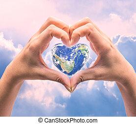 elem, alakít, kép, emberi, felett, világ, egészség, szív, background:, természetes, ez, nap, nők, bútorozott, nasa, kézbesít, életlen