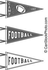 element., egyetem, tábor, tervezés, aláír, emblem., vektor, isolated., set., futball, medál, címke, icons., usa, labdarúgás, zászlók, jelzőzászló, template., lobogó, monochrom, főiskola, sport, képzés