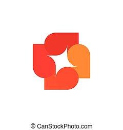 element., színes, fa, elvont, zöld, icon., dekoratív, elszigetelt, jel, vektor, cégtábla., rendkívüli, kereszt, háttér., illustration., logotype., ősz, fehér