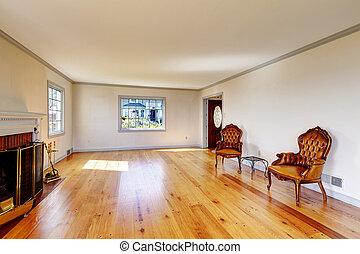 eleven, öreg, szoba, nagy, belső, fireplace., üres