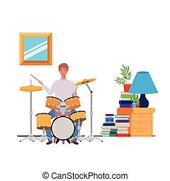 eleven, dobol, szoba, fiatal, felszerelés, ember