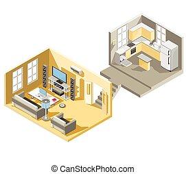 eleven, isometric, szoba, vektor, tervezés, konyha