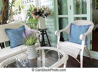 eleven, külső, állhatatos, kert, vesszőfonás, sétabot, rotáng, chairs., szék, vagy