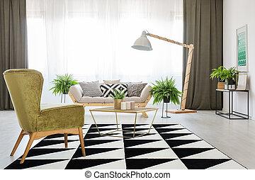 eleven, szék, zöld, szoba