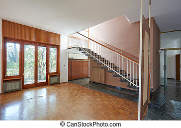 eleven, szoba, öreg, szoba, épület, lépcsőház, belső, üres