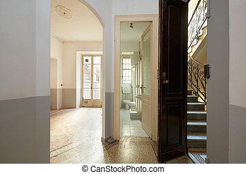 eleven, szoba, öreg, szoba, lépcsőház, belső, üres, fürdőszoba