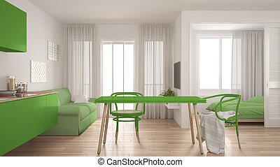 eleven, tervezés, szoba, modern, belső, háttér, zöld, hálószoba, szoba, kicsi, fehér, minimális, konyha