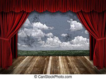 elfüggönyöz, bársony, drámai, színház, piros, fokozat