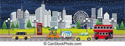elfoglalt, éjszaka, táj, város