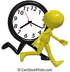 elfoglalt, futás, óra, személy, életpálya időmérés, siet, nap