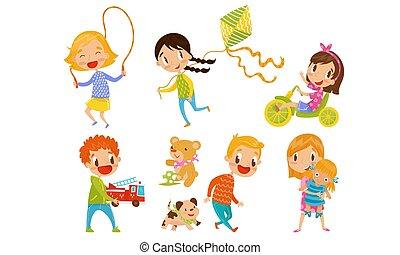 elfoglaltság, apró, gyerekek, móka, állhatatos, vektor, birtoklás, játék, különböző, ábra