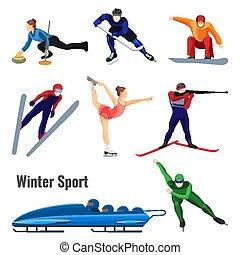 elfoglaltságok, állhatatos, tél, elszigetelt, ábra, vektor, fehér, sport