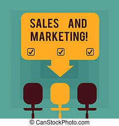 elfoglaltságok, elfordul, eladás, marketing., ügy, hegyezés, hely, elpirul fénykép, kiállítás, értékesítések, egy, chairs., termékek, három, kéz, szöveg, fogalmi, nyíl, írás, hirdetés