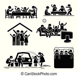 elfoglaltságok, home., család időmérés
