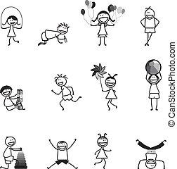 elfoglaltságok, izbogis, labda, móka, &, abc, lány, eltöm, ugrás, játék, fiú, más, fekete, white., kids(children), ugrás, léggömb, futás, birtoklás