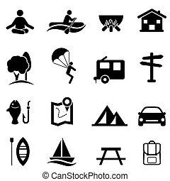 elfoglaltságok, pihenés, szabad, ikonok