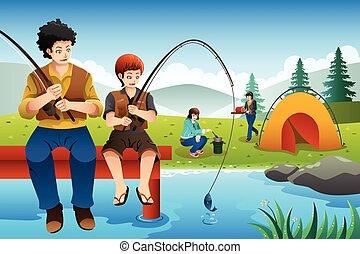 elgáncsol, haladó, család sátortábor, halászat