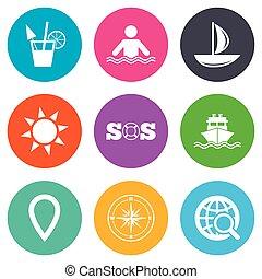 elgáncsol, utazás, jacht, icons., luxushajó, signs.
