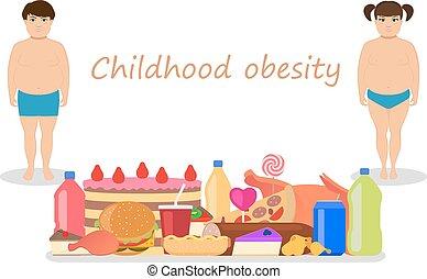 elhízott, gyermekkor, obesity., vektor, karikatúra, gyerekek