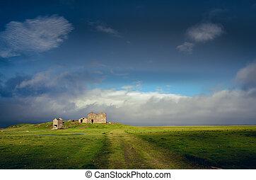 elhagyatott, vidéki táj, izland, tönkretesz, épület, táj, kilátás