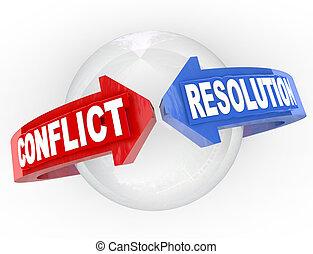 elhatározás, nyílvesszö, egyezmény, találkozik, döntés, konfliktus, vita