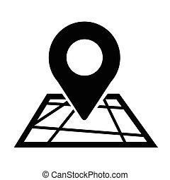elhelyezés, gombostű, ikon