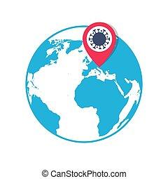 elhelyezés, gombostű, mutató, ikon, coronavirus, földgolyó