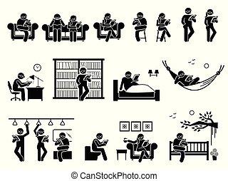 elhelyez, emberek, különböző, olvasókönyv