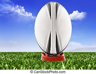 elhomályosul, ég, labda, rugby terep