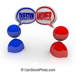 elhomályosul, emberek, kérdez, két, beszéd, felelet, megvitat