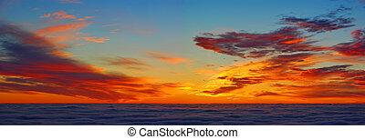 elhomályosul, felül, napkelte, panoráma