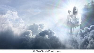 elhomályosul, jelenés, jézus, szűz, csecsemő, mária